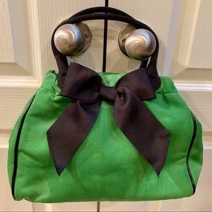 Talbots green purse with navy trim/bow